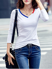 Fitted-V-Neck-Contrast-Trim-Long-Sleeve-T-Shirt