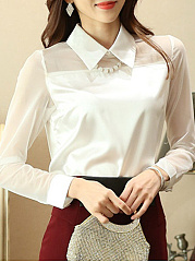 Polo Collar  Patchwork  Plain Blouses