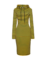 Hooded Drawstring Kangaroo Pocket Striped Bodycon Dress