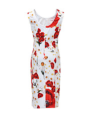 Round Neck Chic Floral Printed Bodycon Dress
