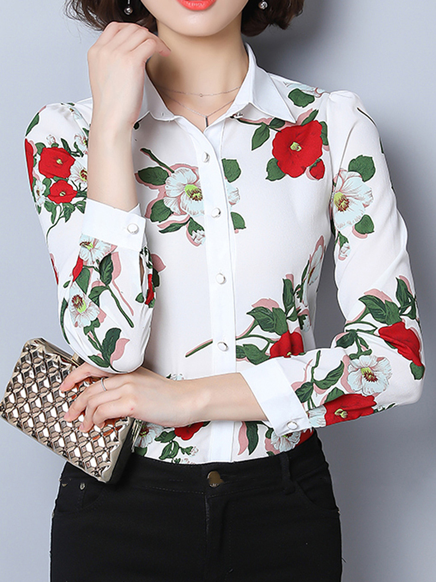 Turn Down Collar Floral Printed Chiffon Blouse