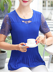 Summer  Polyester  Women  Round Neck  Decorative Lace See-Through  Embroidery Hollow Out  Short Sleeve Blouses