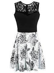 Hollow Out Printed Round Neck Patchwork Skater Dress