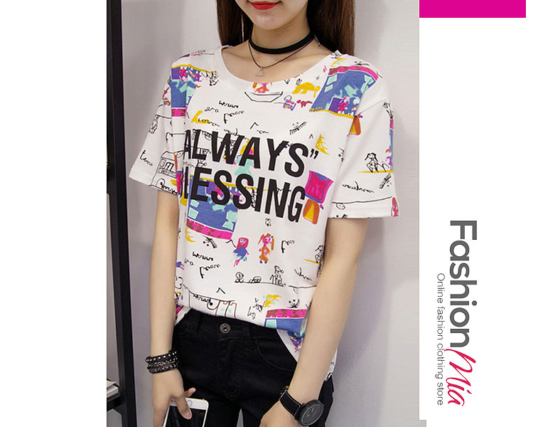 Summer  Polyester  Women  Round Neck  Floral Letters Short Sleeve T-Shirts