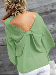 Spring Summer  Polyester  Women  V-Neck  Bowknot  Plain  Three-Quarter Sleeve Blouses