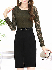 Round Neck  Decorative Lace  Bust Darts  Acid Wash Bodycon Dress