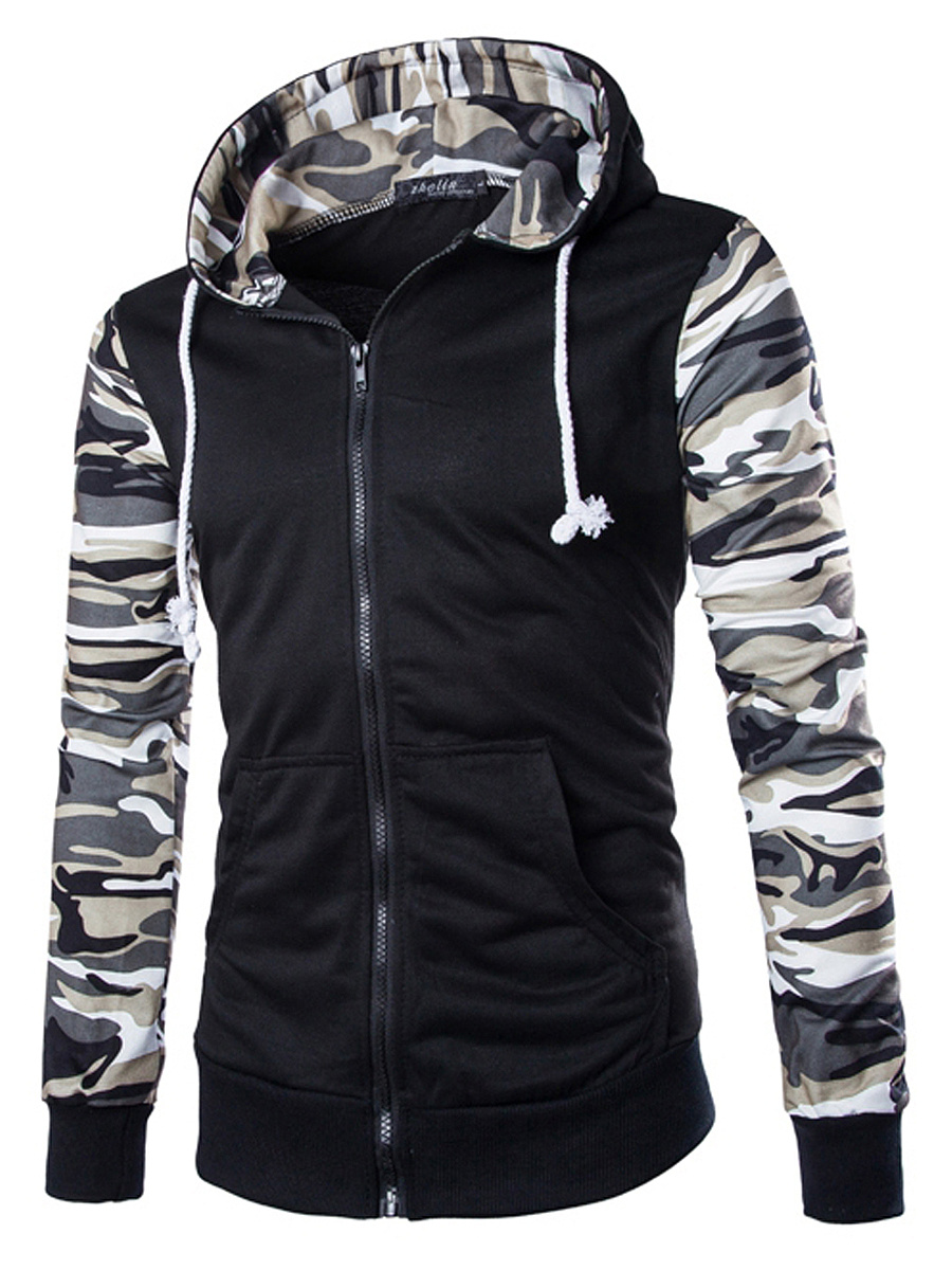 Hooded Camouflage Patch Pocket Men Coat