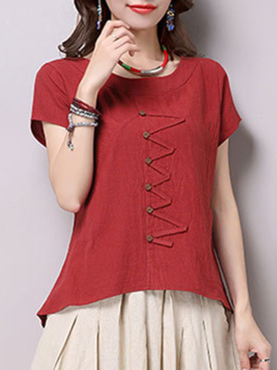 Decorative Button And Patch Plain Short Sleeve T-Shirt