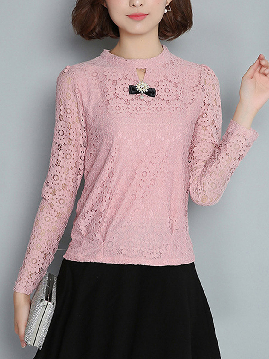 Band Collar Keyhole Hollow Out Plain Lace Long Sleeve T-Shirt