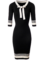 Tie Collar Striped Bodycon Dress