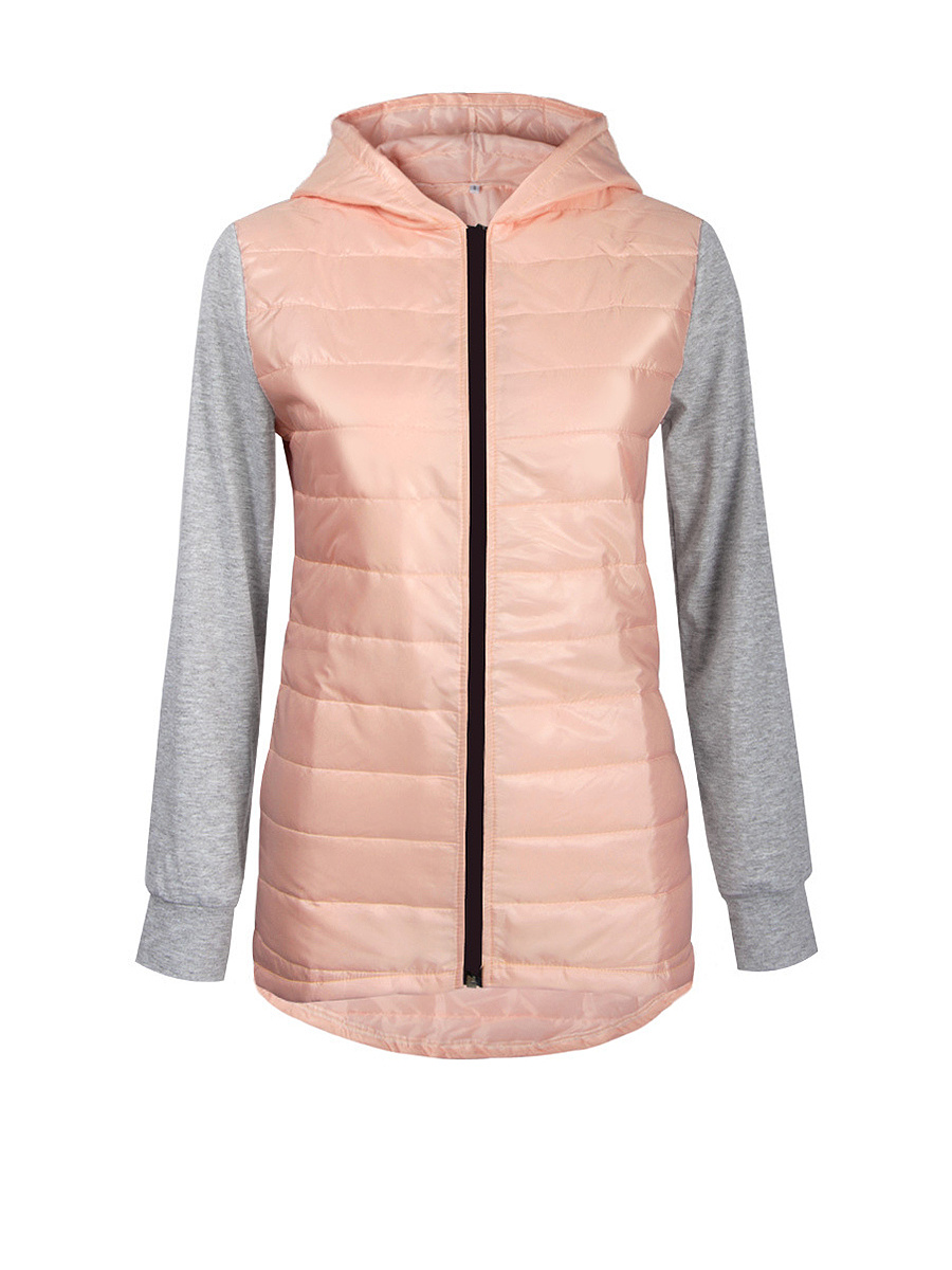 Hooded Patchwork Quilted Zips Padded Coat