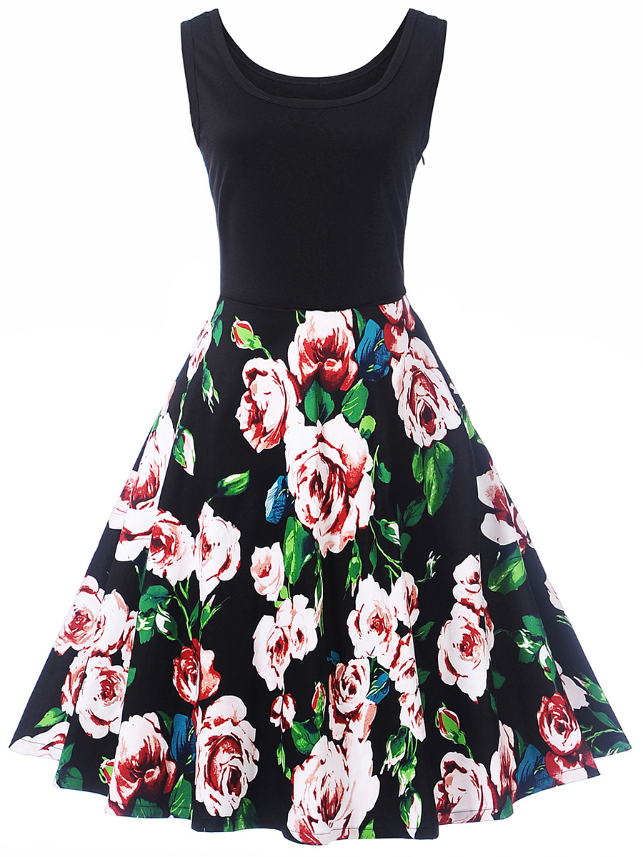 Charming Floral Printed Round Neck Skater Dress