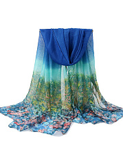 Gradient Floral Long Scarf