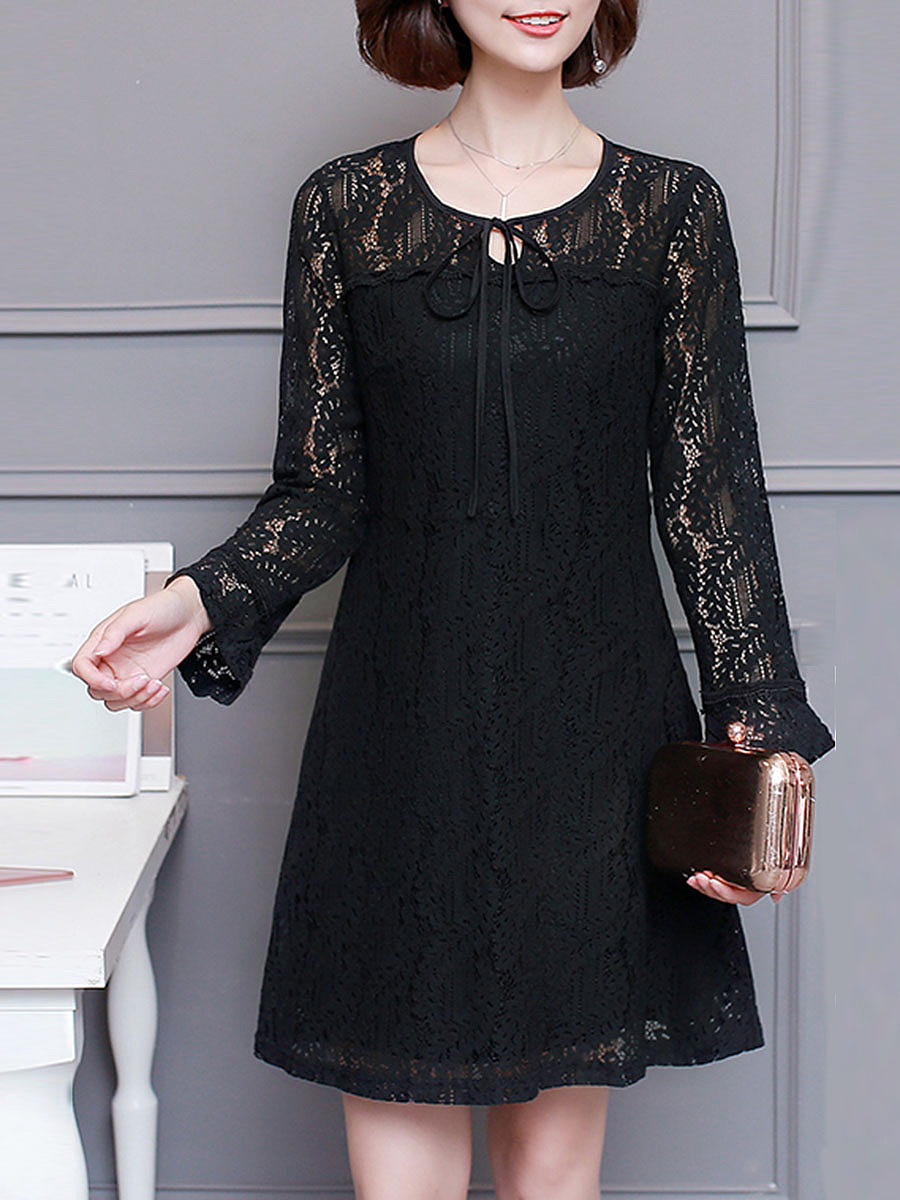 Tie Collar See-Through Lace Plain Shift Dress
