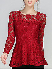 Autumn Spring  Lace  Women  Round Neck  Decorative Lace  Floral  Long Sleeve Blouses