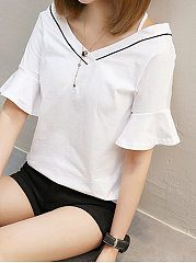 Summer  Cotton  Women  V-Neck  Contrast Piping  Plain  Bell Sleeve Short Sleeve T-Shirts