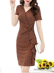 V-Neck  Ruched  Printed Bodycon Dress