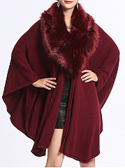 Faux Fur Collar  Plain  Cape Sleeve Cape