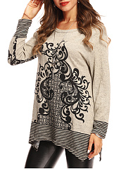 Loose Round Neck  Printed Striped Long Sleeve T-Shirt