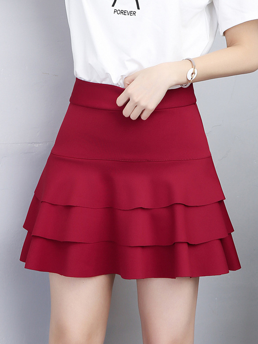 Plain Layered A-Line Mini Skirt With Underpant