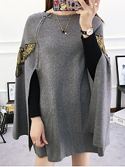 Round Neck Zips Decorative Patch Cape