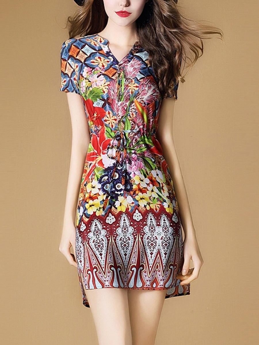 Sweet Heart  Drawstring  Abstract Print  Blend Bodycon Dress