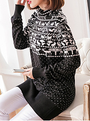 Turtle Neck  Patchwork  Animal Prints Knit Pullover