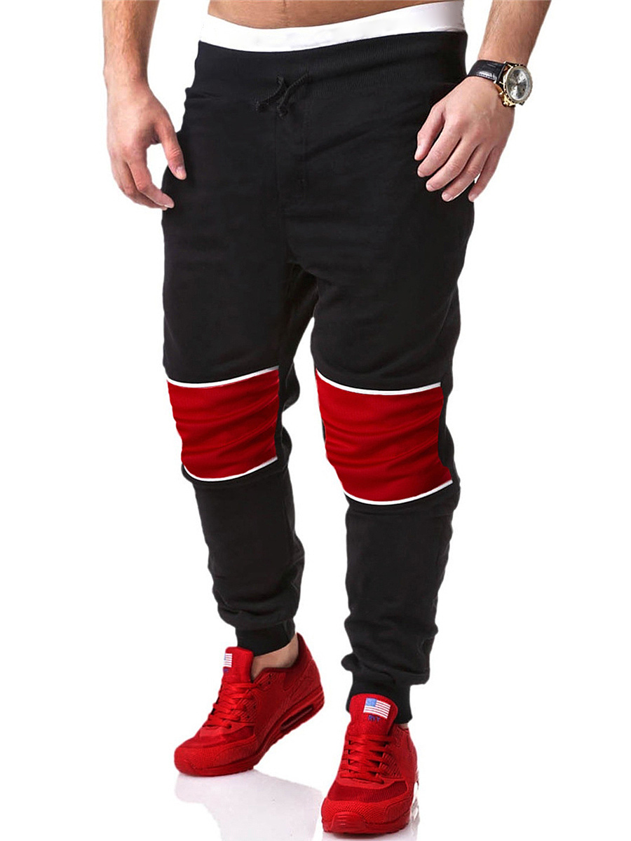 Sport Color Block Mid-Rise Men's Casual Pant