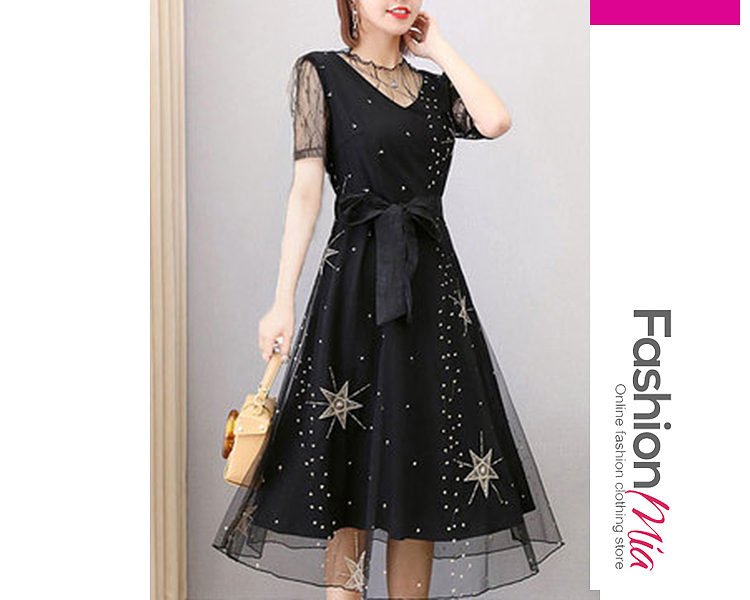 style:fashion, material:polyester, collar&neckline:round neck, sleeve:short sleeve, embellishment:see-through, pattern_type:geometric, length:calf-length, how_to_wash:cold gentle machine wash, supplementary_matters:all dimensions are measured manually with a deviation of 2 to 4cm., occasion:date, season:spring,summer, dress_silhouette:empire line, package_included:dress*1, lengthshoulderbustwaist