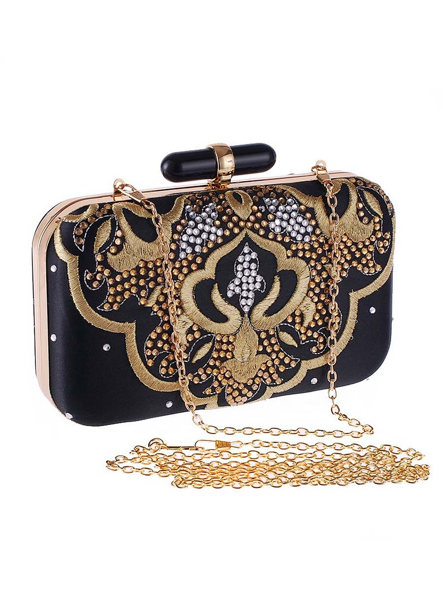 Gold Embroidery Diamante Clutch Bag
