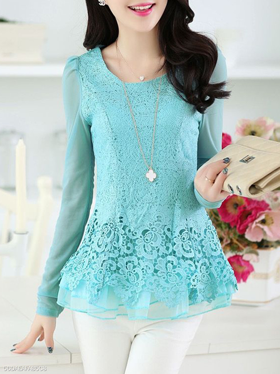 Autumn  Lace  Women  Round Neck  Decorative Lace  Hollow Out Plain  Long Sleeve Blouses