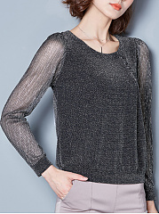 Round Neck See-Through Blouse