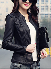 Band Collar PU Leather Zips Plain Biker Jacket