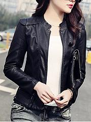 Band-Collar-PU-Leather-Zips-Plain-Biker-Jacket