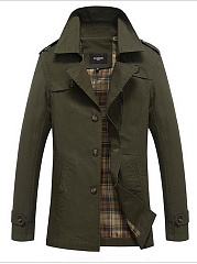 Men Lapel  Single Breasted  Pocket Jacket