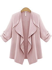 Lapel-Plain-Roll-Up-Sleeve-Cardigan