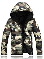 Camouflage Hooded Pocket Quilted Men Padded Coat