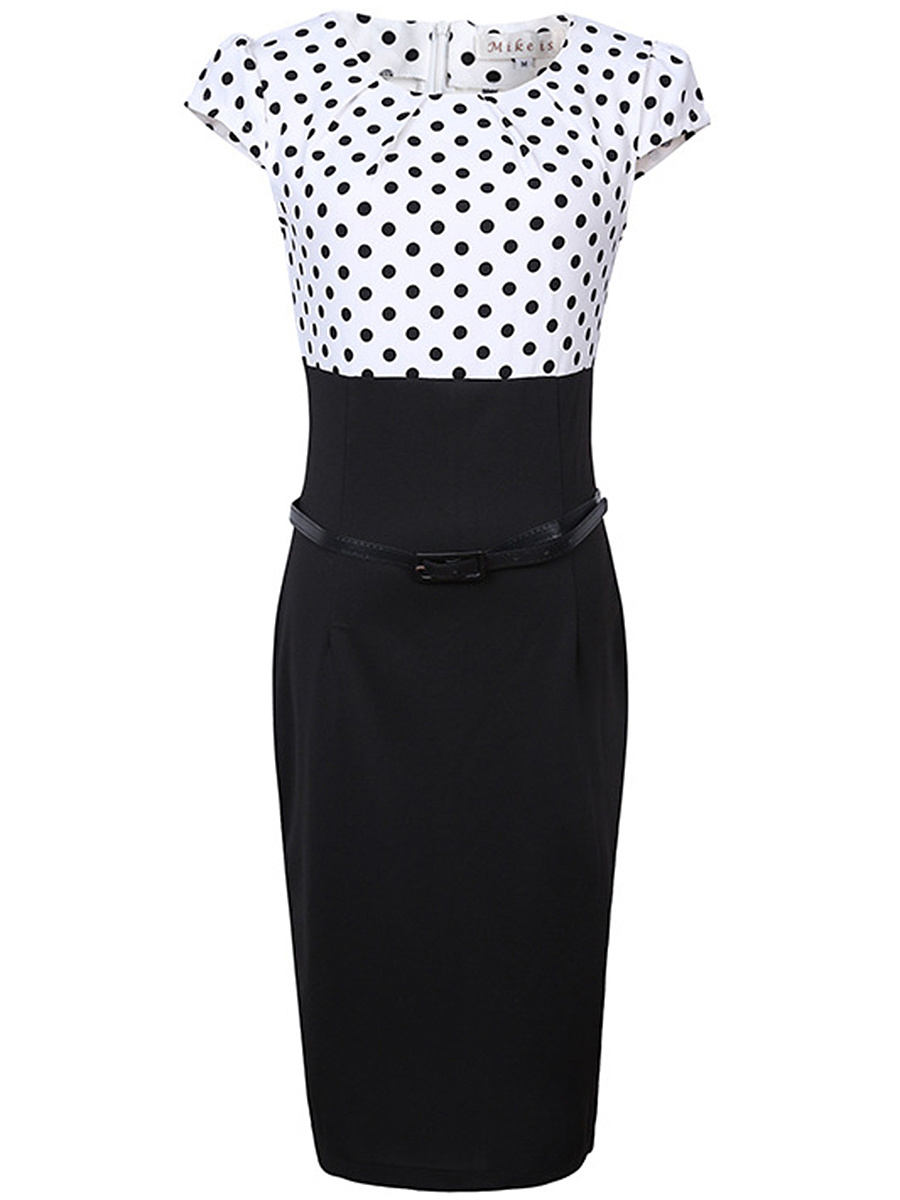 Polka Dot Round Neck Belt Bodycon Dress