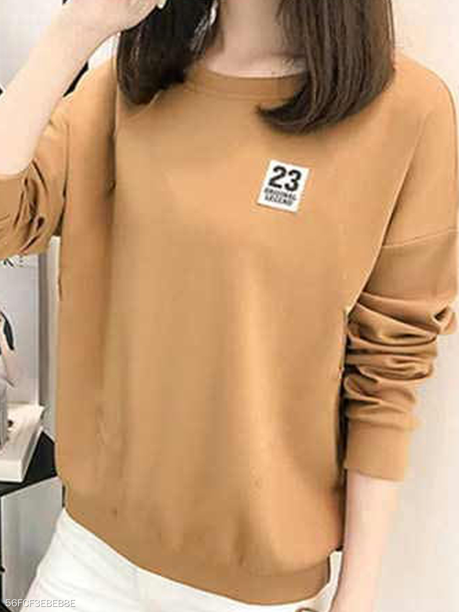 Autumn Spring Winter  Cotton  Women  Round Neck  Letters Number 23 Long Sleeve T-Shirts