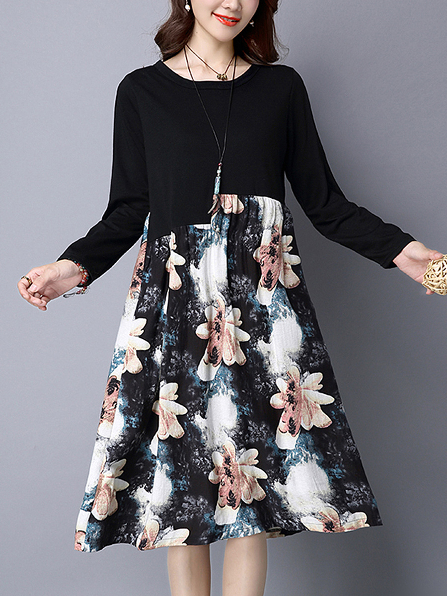 Round Neck Floral Printed Pocket Midi Shift Dress