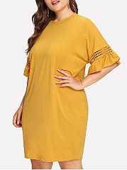 Round Neck  Hollow Out Plain Plus Size Bodycon Dress