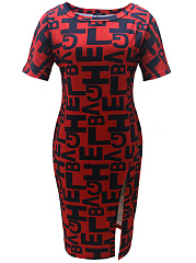 Boat Neck  Letters  Blend Bodycon Dress