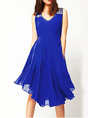 Round Neck  Asymmetric Hem Beading  Plain Skater Dress