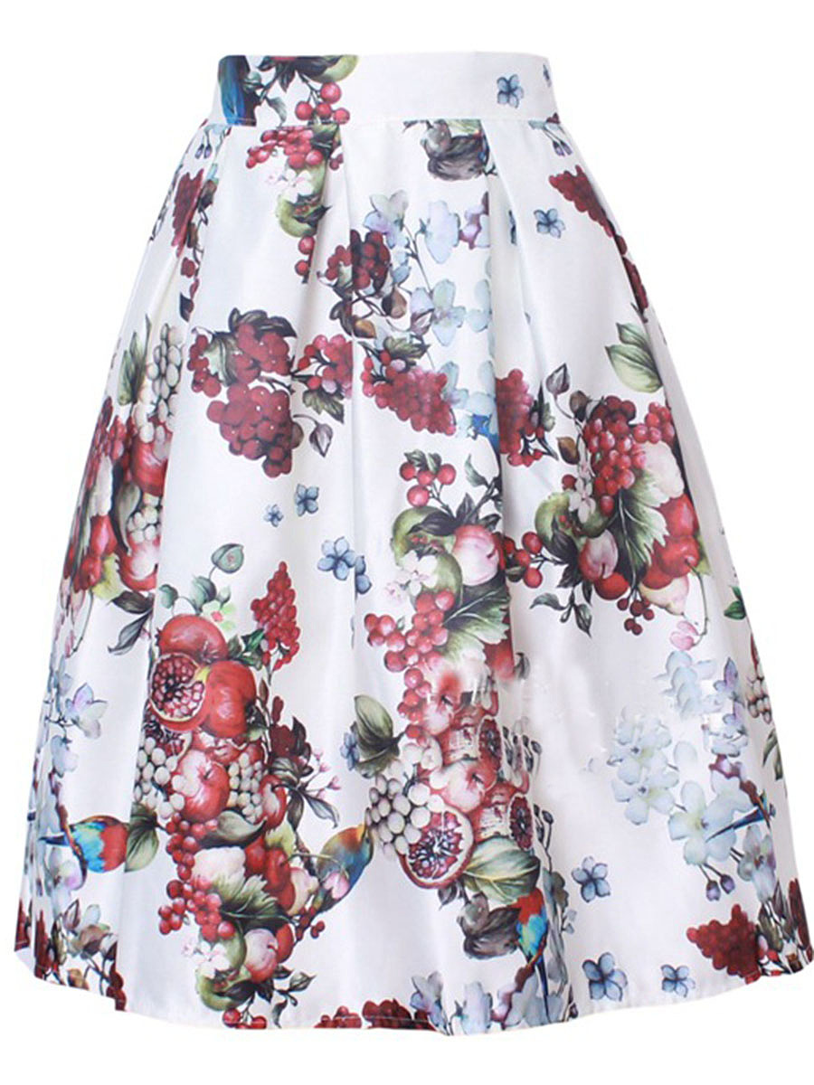Elastic Waist Inverted Pleat Printed Flared Midi Skirt