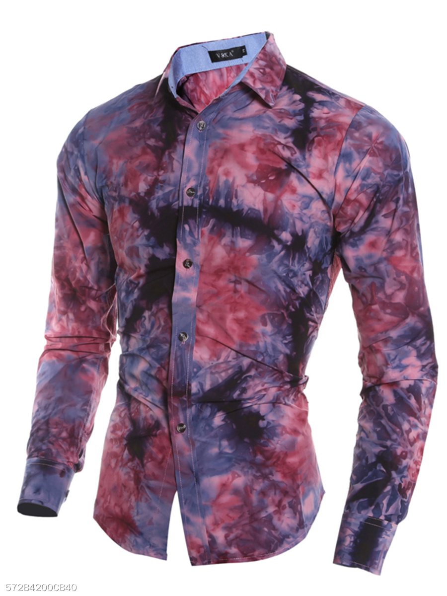 Turn Down Collar  Abstract Print Tie/Dye  Cuffed Sleeve  Long Sleeve Long Sleeves