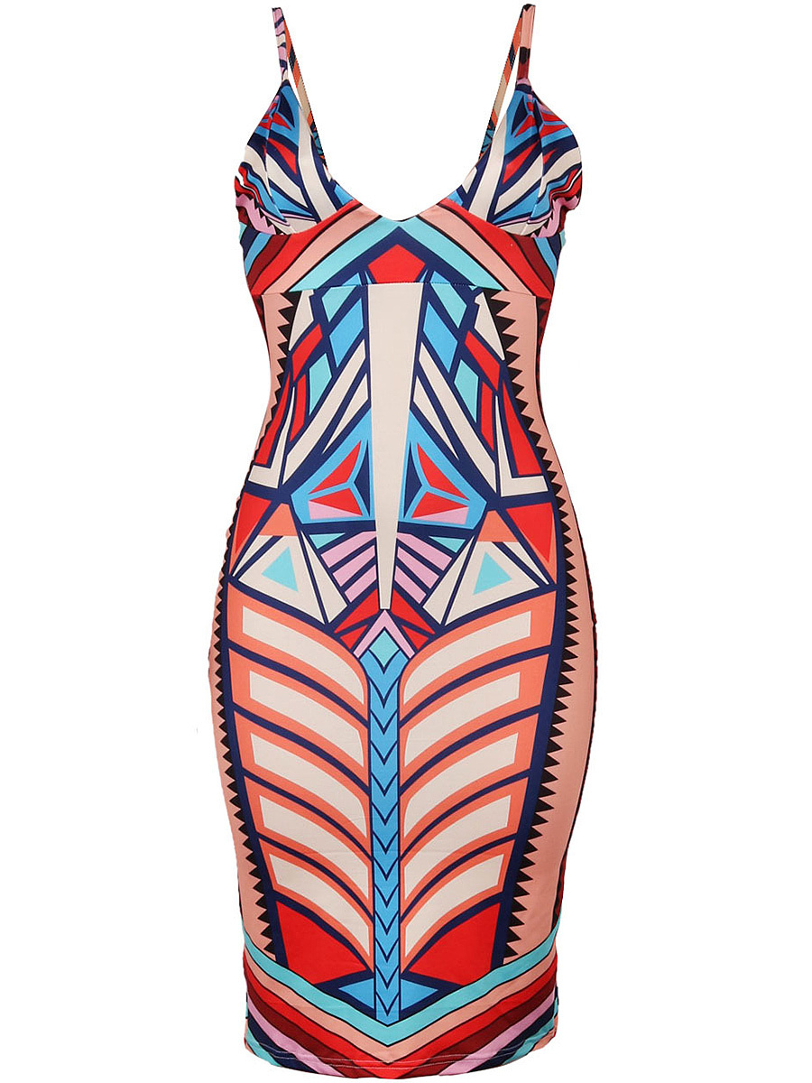Spaghetti Strap Geometric Printed Slit Bodycon Dress