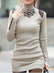 Turtleneck  Plain  Long Sleeve Sweaters Pullover