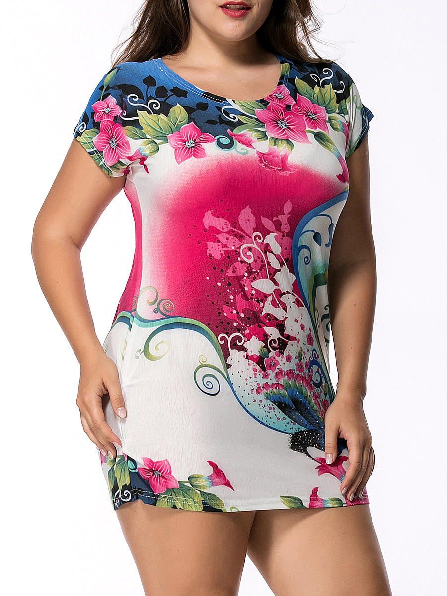 Round Neck Rhinestone Floral Printed Mini Plus Size Bodycon Dress