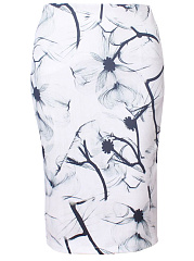 Floral-Printed-Pencil-Midi-Skirt