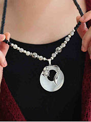 Faux Jade Fox Rhinestone Pendant Long Necklace